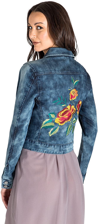 Standards & Practices Modern Womens Acid Wash Floral Embroidery Back Jean Jacket