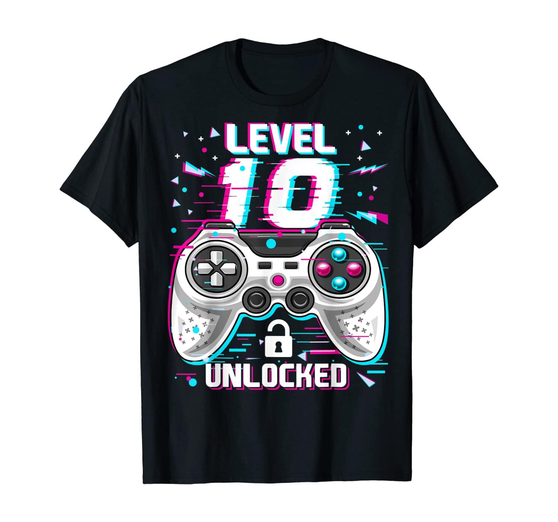 Level 10 Unlocked Video Gamer 10th Birthday Gift for Boys T-Shirt