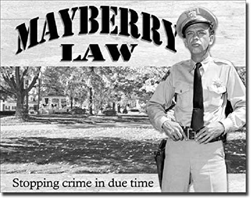 SRongmao Andy Griffith Show Mayberry Law Barney Fife Classic TV Retro Wall Art Decor Metal Tin Sign 8x12in