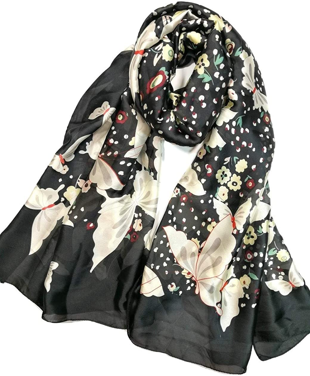 Shanlin Silk Feel Long Floral Satin Scarves for Women in Gift Box
