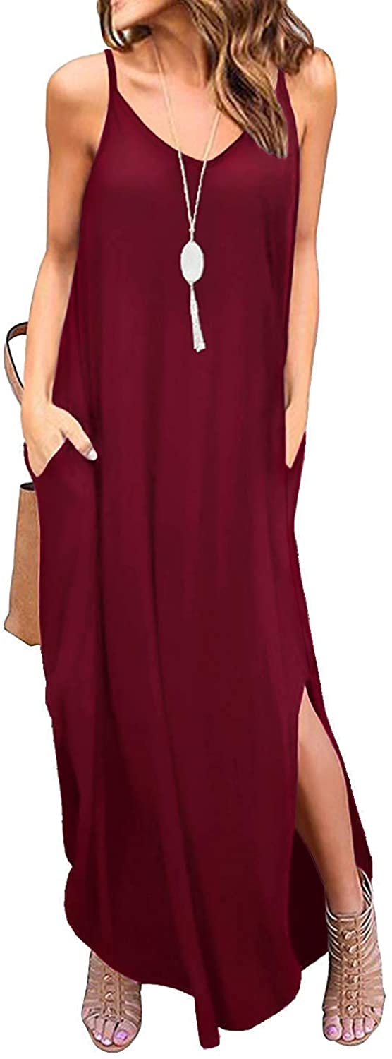 DUOSTICK Womens Casual Dresses Sleeveless Loose Plain Maxi Dresses Long Dresses with Pockets - S, WineRed