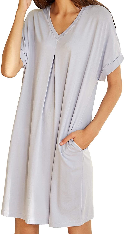 ROFARSO Women's Nightgowns Premium Comfy Soft Pocket Solid Color Loungewear Sleepwear Homewear