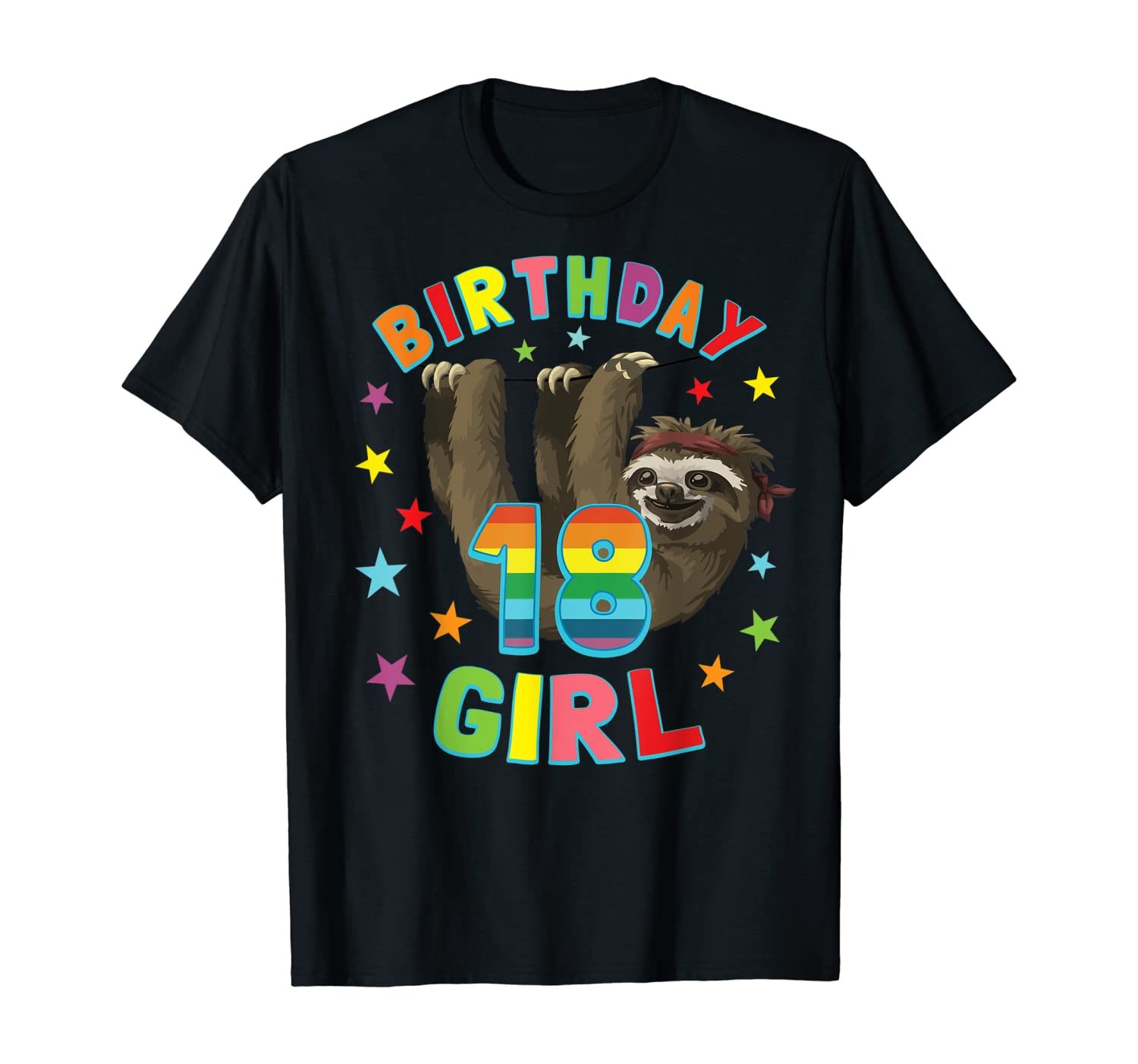 Girl 18th Birthday Sloth 18 Year Old B-day Party Women Gift T-Shirt