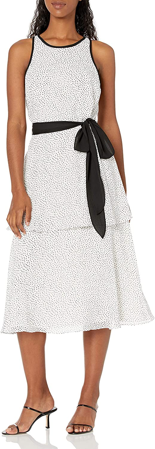 Adrianna Papell Women's Polka Dot Printed Tiered Dress