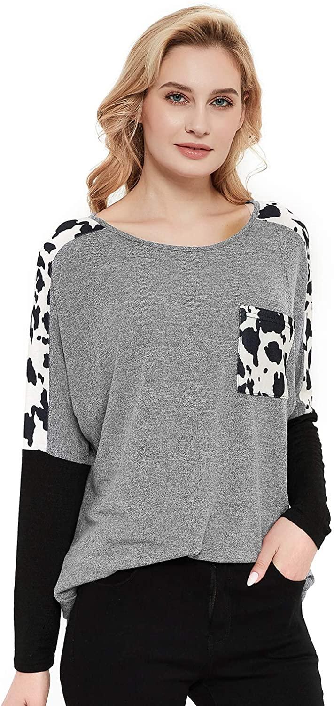 Talanes Women's Long-Sleeve Crewneck T-Shirt Leopard Print Color Block Loose T-Shirt Raglan Tops Tee Sweatshirt