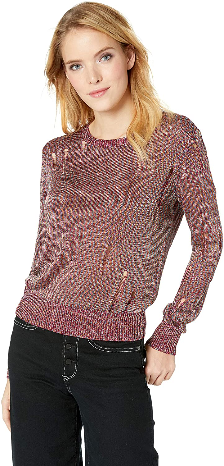 GUESS Womens Destroy Pullover Sweater