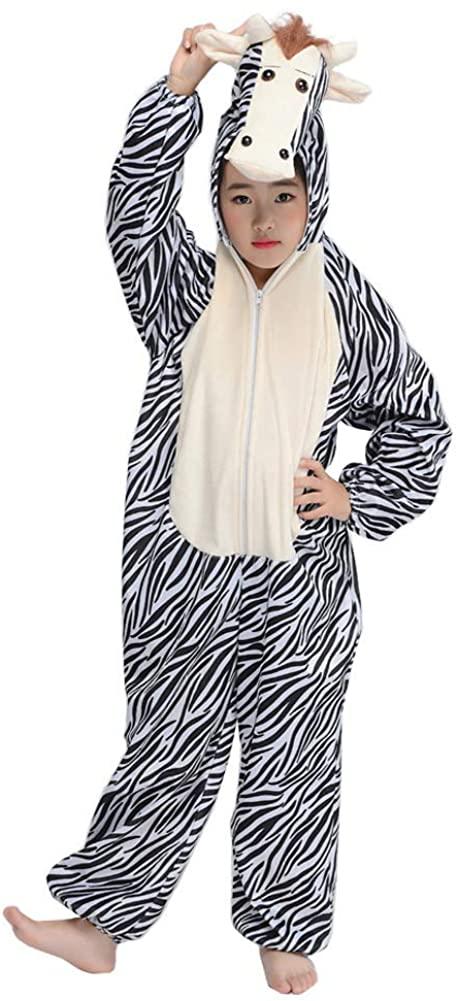 Kid Zebra Costume Fun Animal Pajamas Mascot Child Cosplay Party Fancy Dress Jumpsuit