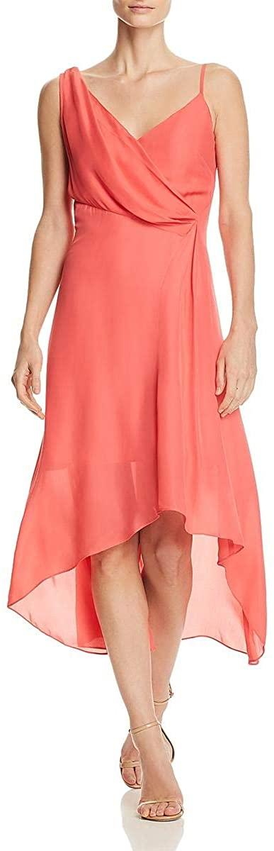 Parker Womens Ruffled One Shoulder Cocktail Dress Pink 4