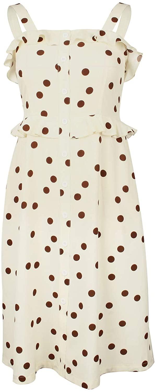 TOP-VIGOR Women's Spaghetti Strap Sundress Polka Dot Summer Ruffle Flare Mini Dress