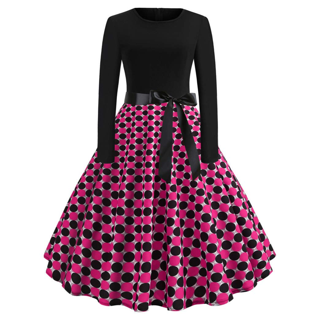 Women Vintage Bodycon Long Sleeve O Neck Evening Printing Party Prom Swing Dress Dress Long Sleeve Women Fashion Casual Print Party