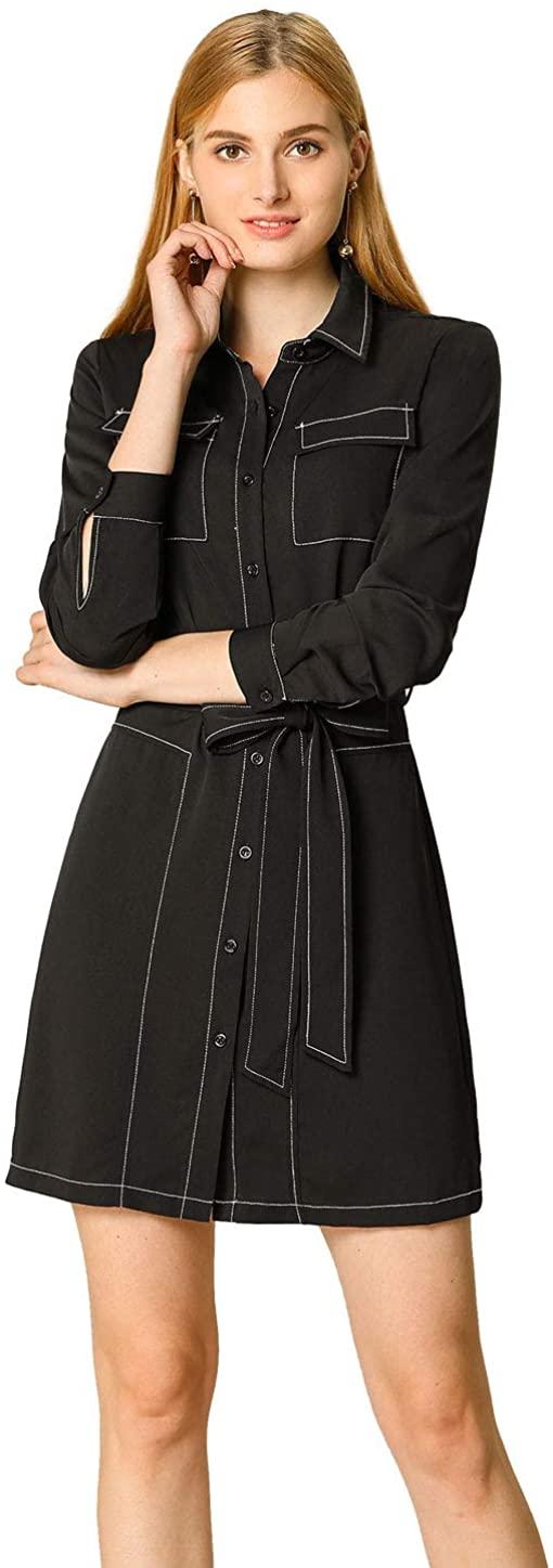 Allegra K Womens Contrast Stitch Button Up Belted Long Sleeves Shirt Dress