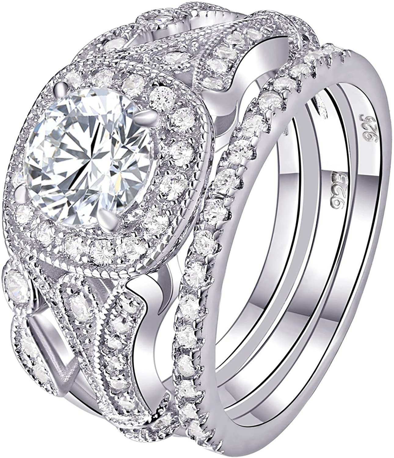 Newshe Wedding Rings for Women Engagement Set 925 Sterling Silver 2ct Round White AAA Cz Size 5-12