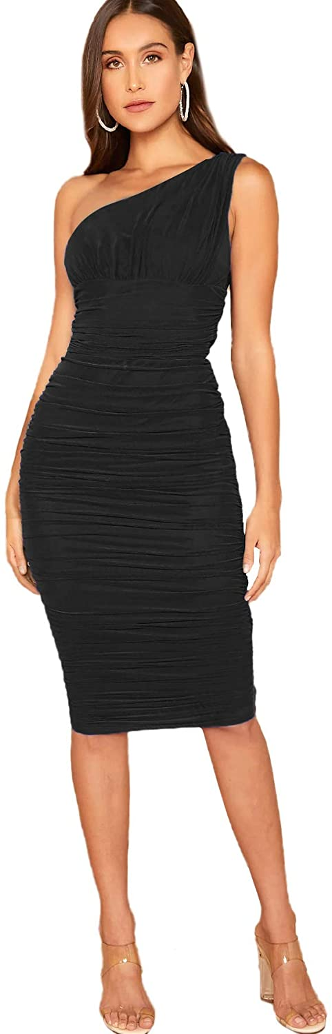 Verdusa Women's One Shoulder Sleeveless Ruched Mesh Bodycon Pencil Dress