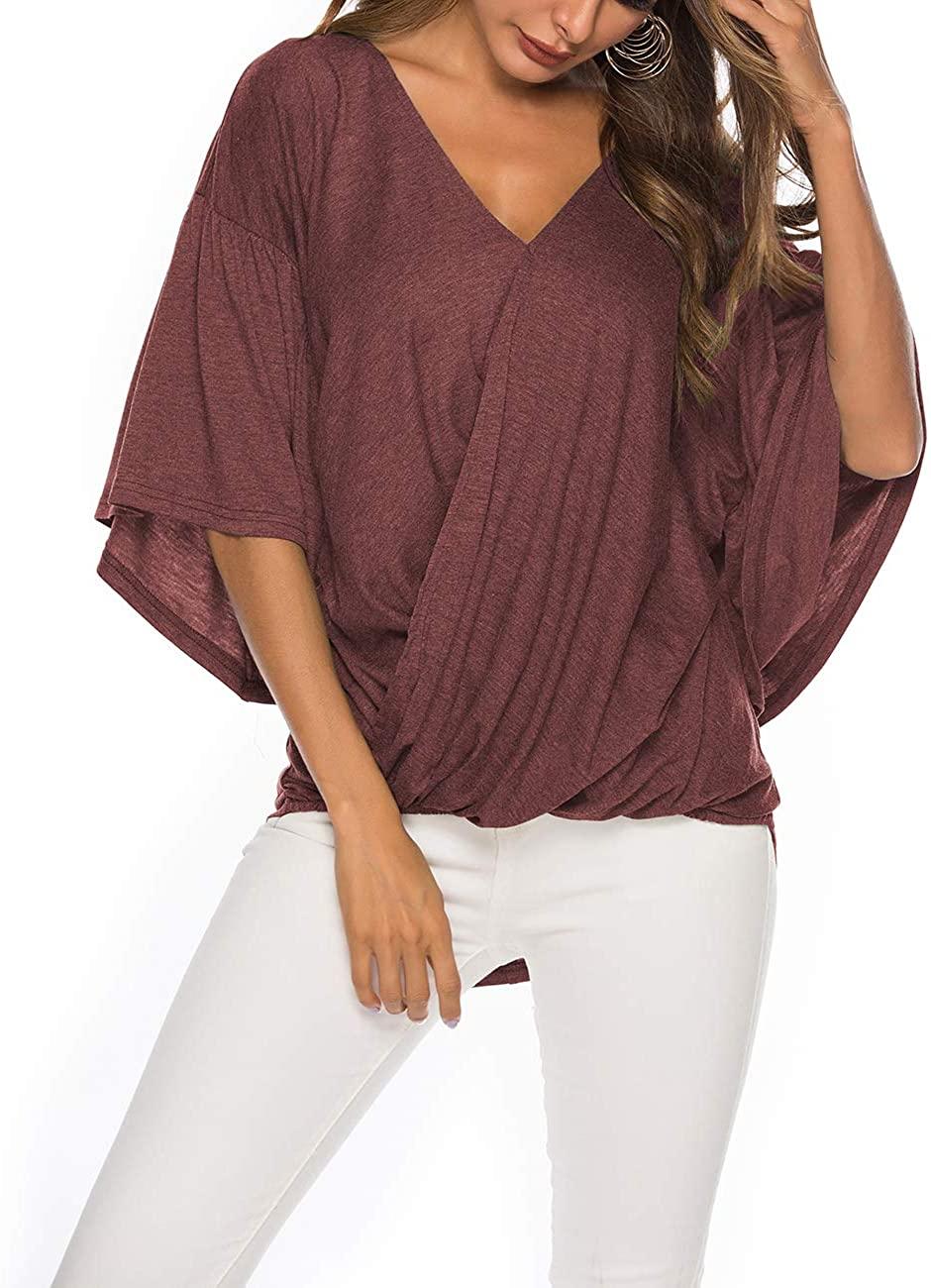 Rainlin Women Casual V Neck Tee Shirts Bell Sleeve High Low Hemline Blouses Tops