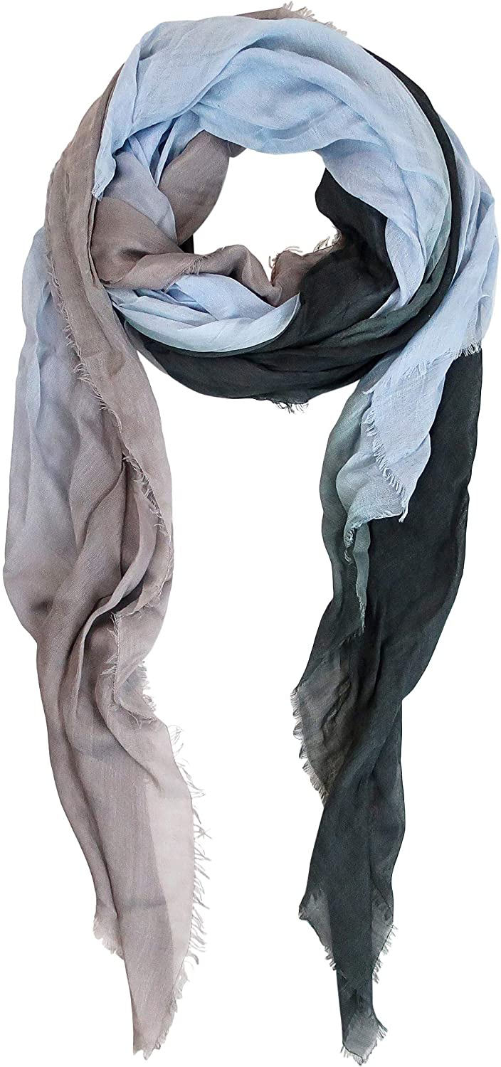 Blue Pacific Dream Cashmere and Silk Scarf in Grey Blue and Black