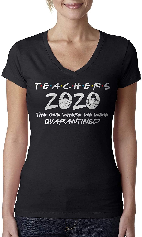 Teachers 2020 The One Where We were Quarantined Ladies V-Neck T-Shirt