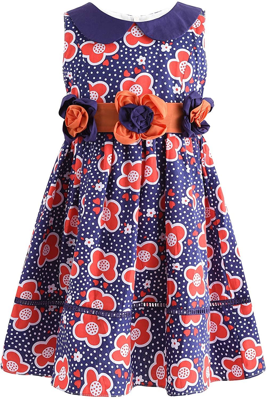 SPEINY Girls' Casual Sleeveless Floral Print Summer Cotton Dress
