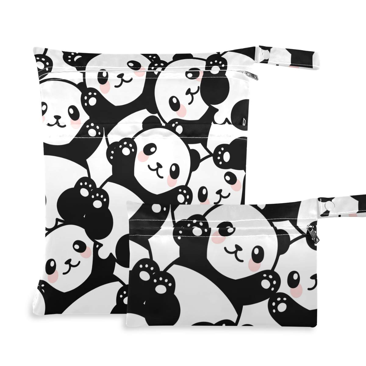 DAOXIANG Animals-Panda 2pcs Wet Bag Multipurpose Wet Dry Bag - for Cloth Diaper, Swimsuit & Travel Washable Reusable