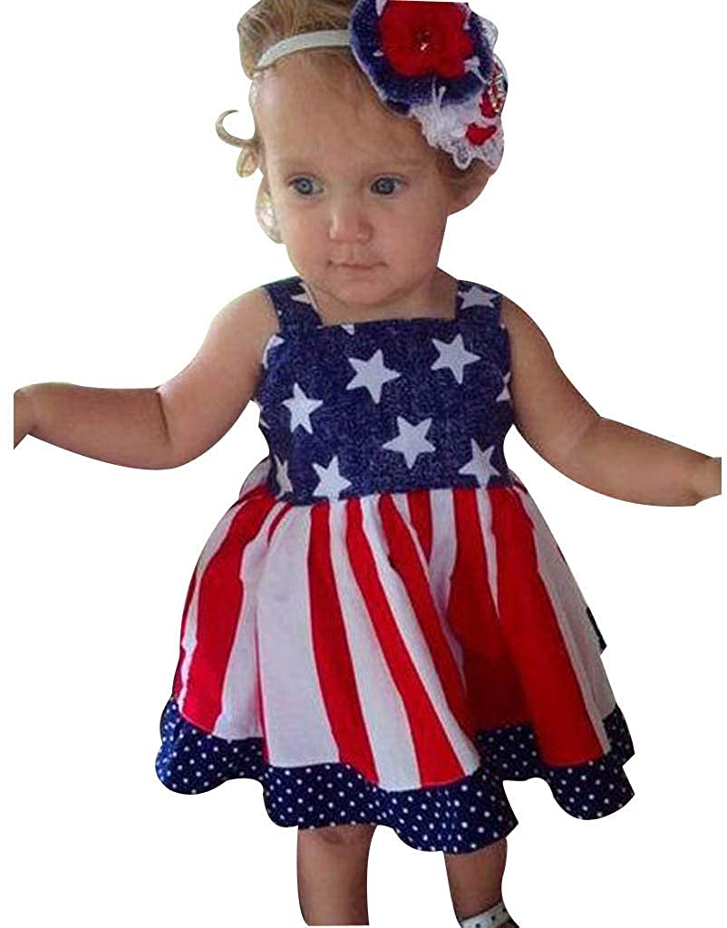 Euone Toddler Baby Kids Girls 4th of July Star Stripe Dress Party Princess Dresses