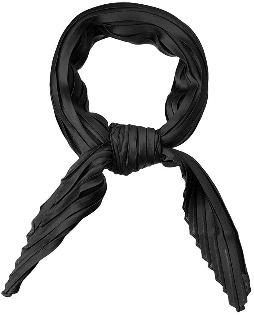 Allegra K Women Pleated Rhombus Head Scarf Wraps Scarves Neckerchief Bandana Solid Color