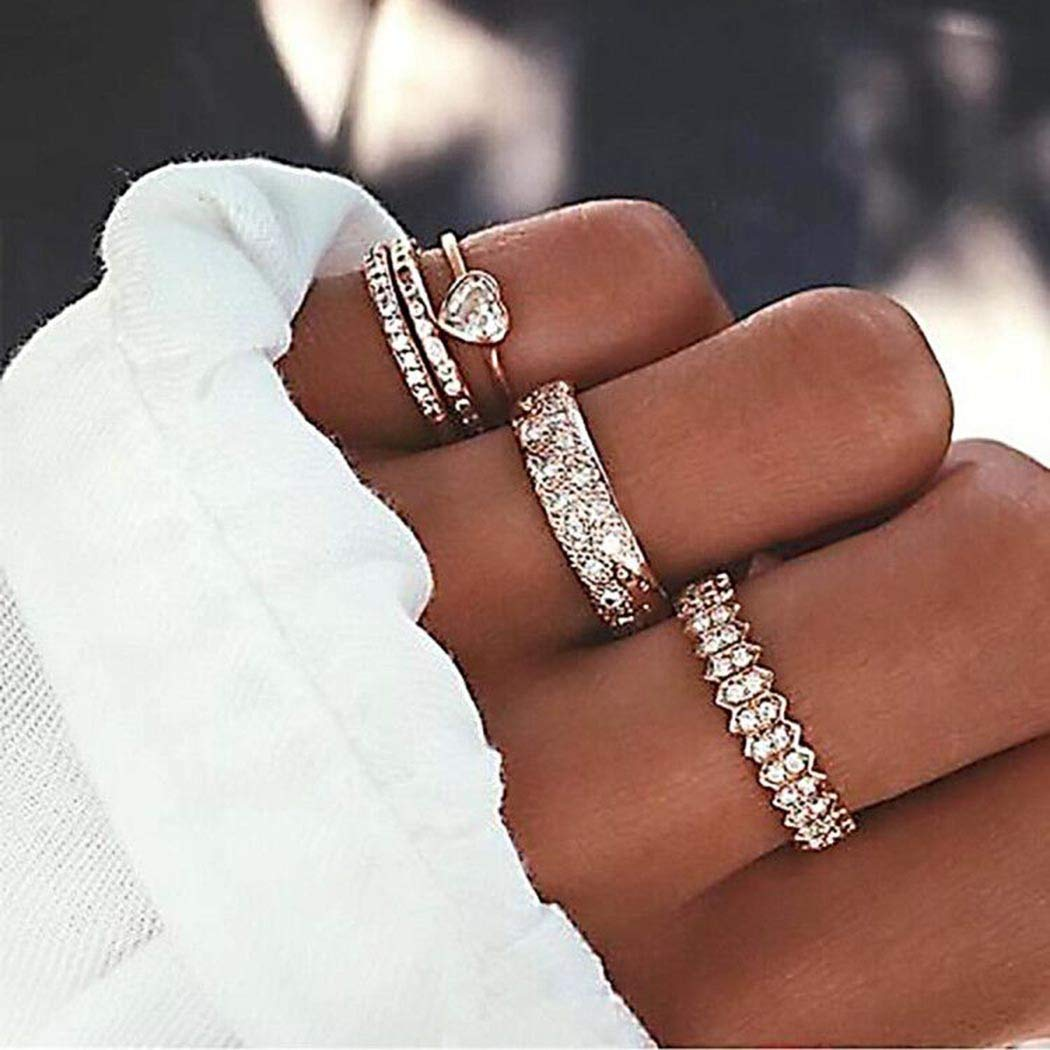 Kakaco Crystal Heart Knuckle Rings Gold Rings Stackable Ring Midi Rings Finger Rings Set Jewelry for Women and Girls(Pack of 5)