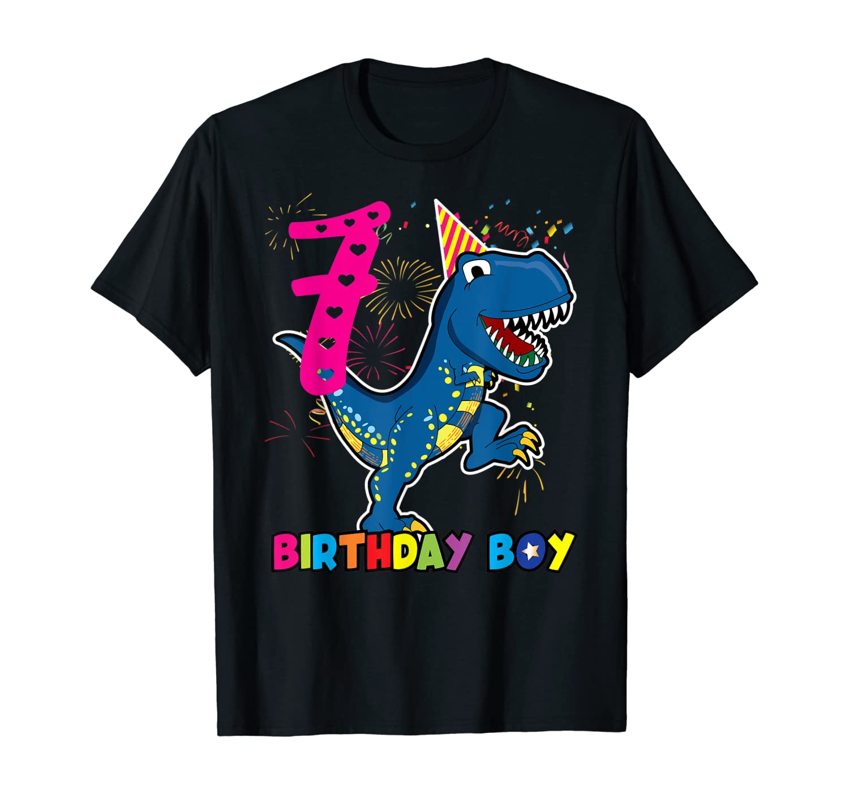 Dinosaur T rex 7 year Old T shirt Kids 7th birthday T-Shirt