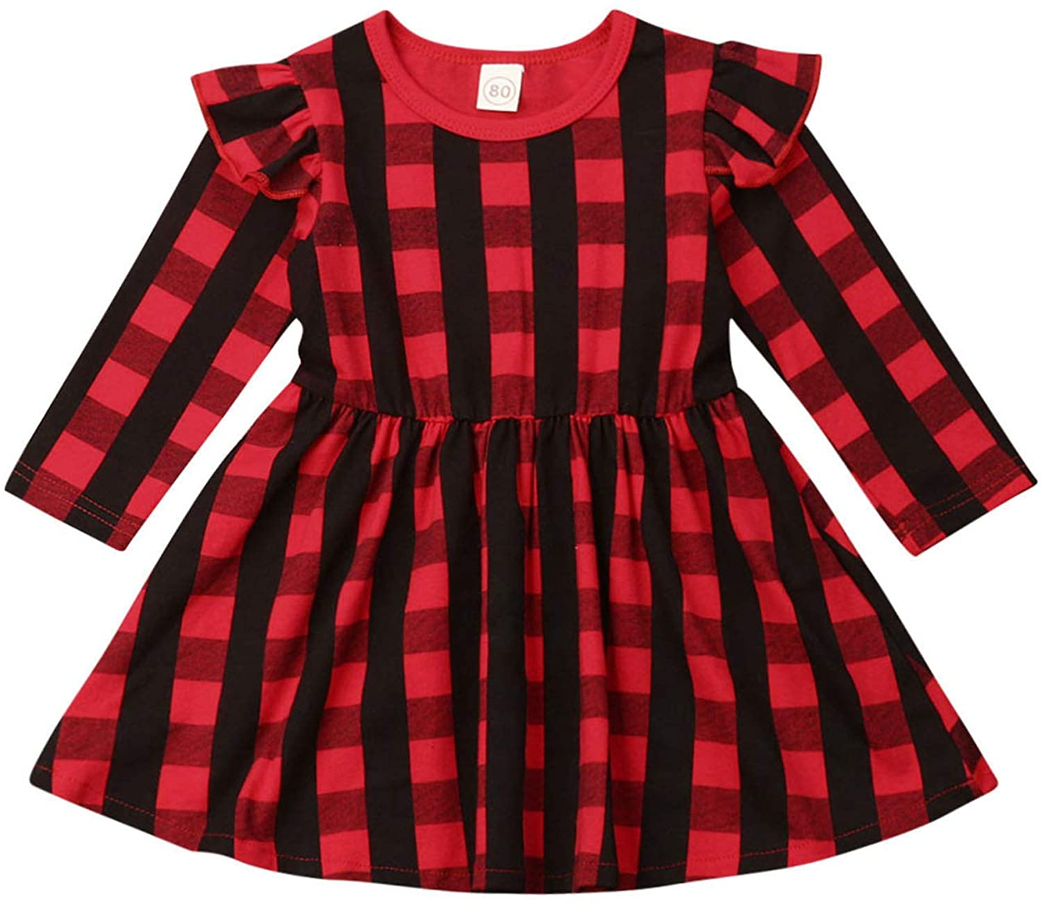 Christmas Toddler Baby Kid Girls Long Sleeve Red Plaid Dress Kids Ruffle Tunic Skirt Clothes Outfit