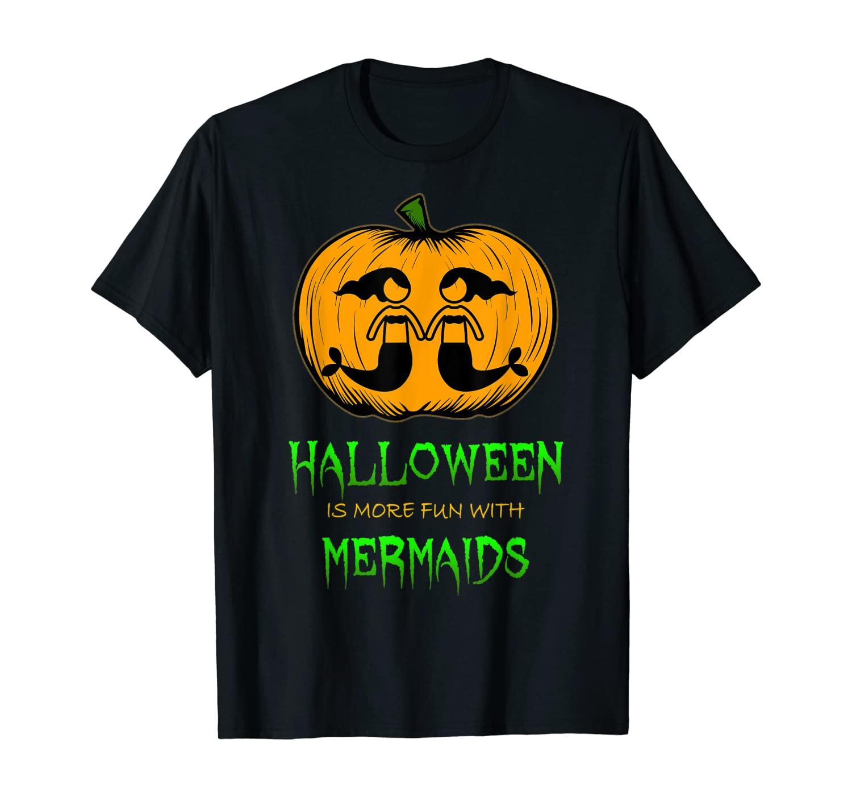 Mermaid Halloween Pumpkin Little Girls T-Shirt