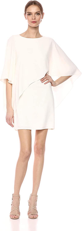 HALSTON Womens Flowy Sleeve Boat Neck Asymmetrical Drape Dress