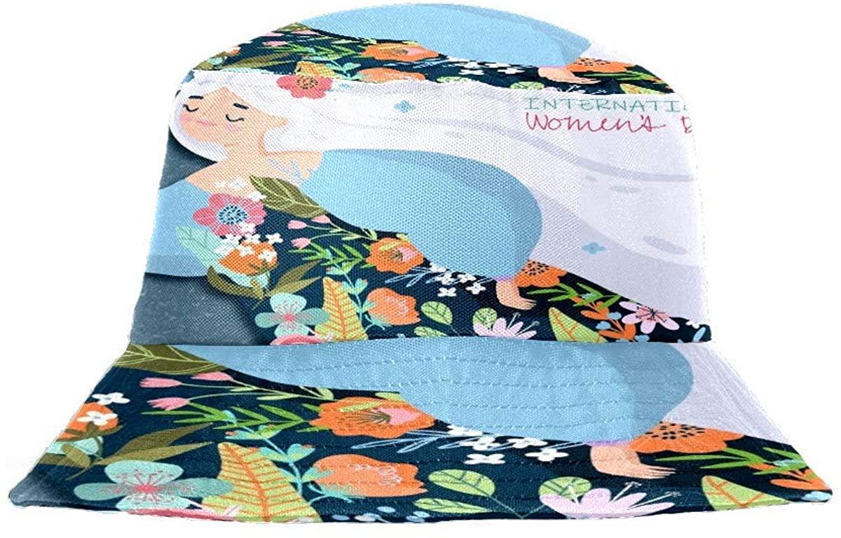 Womens Bucket Hats Flat Top Fisherman Cap Packable Sun Hat Caps for Men Women