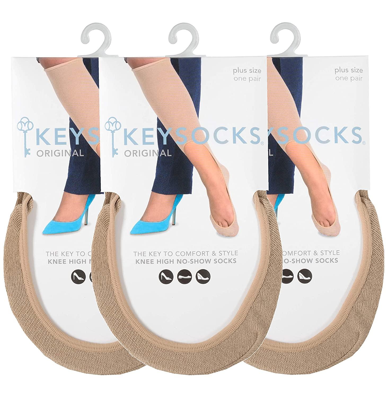 KEYSOCKS Women's Original No-Show Knee High Socks, Plus Size, Nude (Beige), Pack of 3