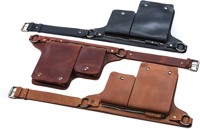 Leather utility belt bag, festival fanny pack, hip bag for women and men (Caramel)