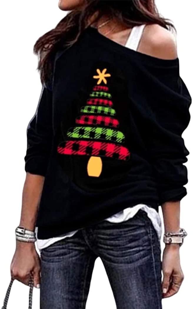 Women Plaid Splicing Christmas Tree Slash Neck Blouse Casual Off Shoulder Sweatshirt Tops Pullover Blouse