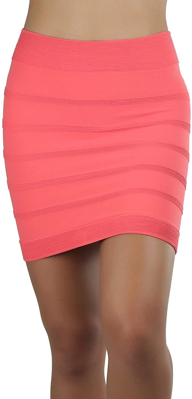 ToBeInStyle Women's Seamless Microfiber Slim Nylon Pull-On Closure Mini Skirt