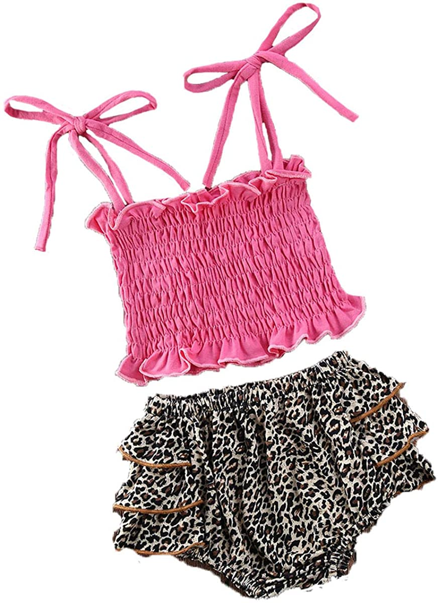 Toddler Baby Girl Summer 2PCS Outfits Sleeveless Pleated Camisole Leopard Printed Ruffle Shorts Elastic Briefs Set 6M-5T