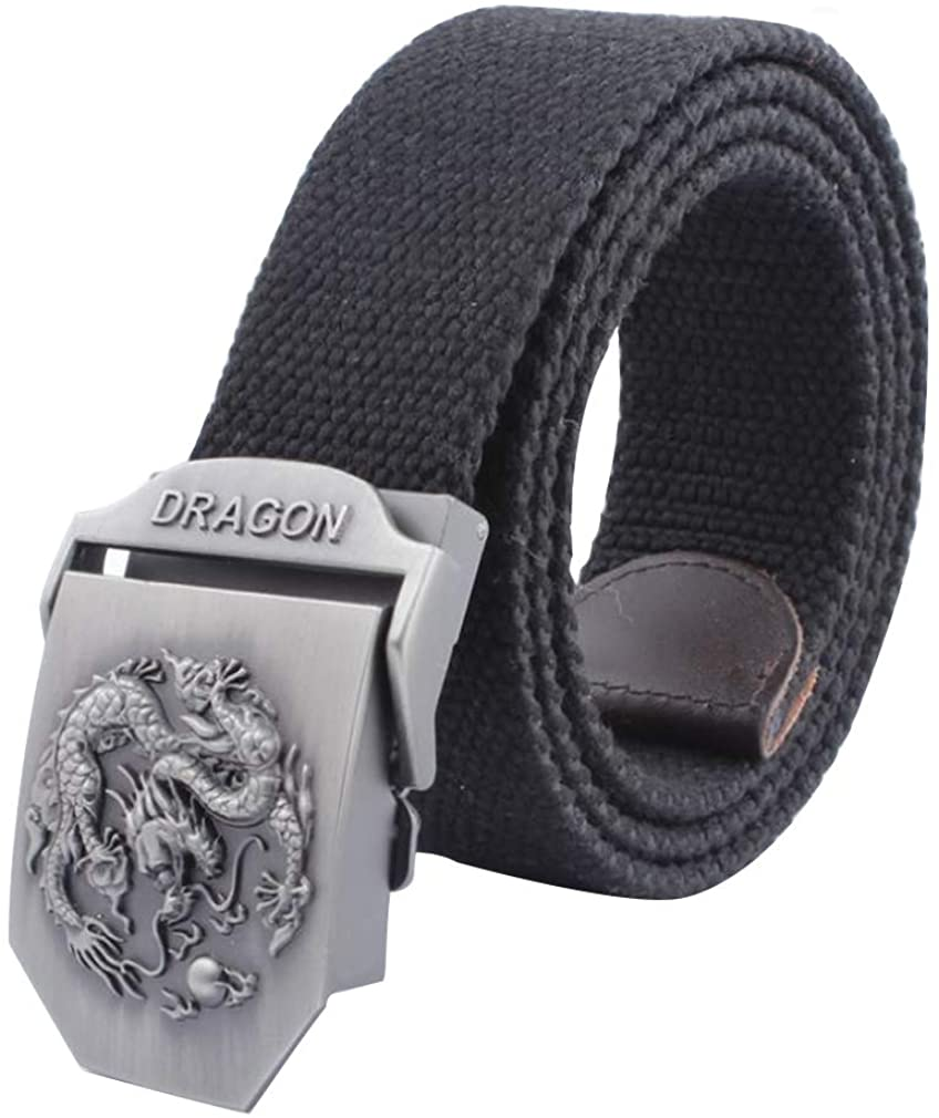 LKMY Mens Belts, Mens Nylon Canvas Belt Metal Buckle Chinese Dragon for Jeans/Chinos