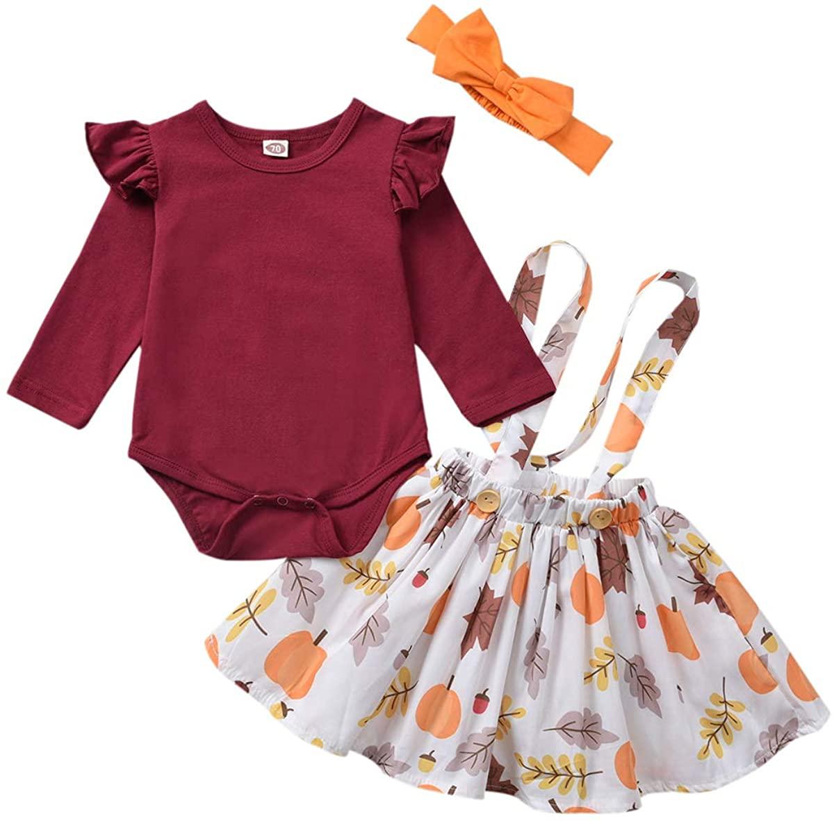Toddler Baby Girls Halloween/Thanksgiving Clothes Long Sleeve Romper + Pumpkin Print Strap Dress + Headband Skirt Set