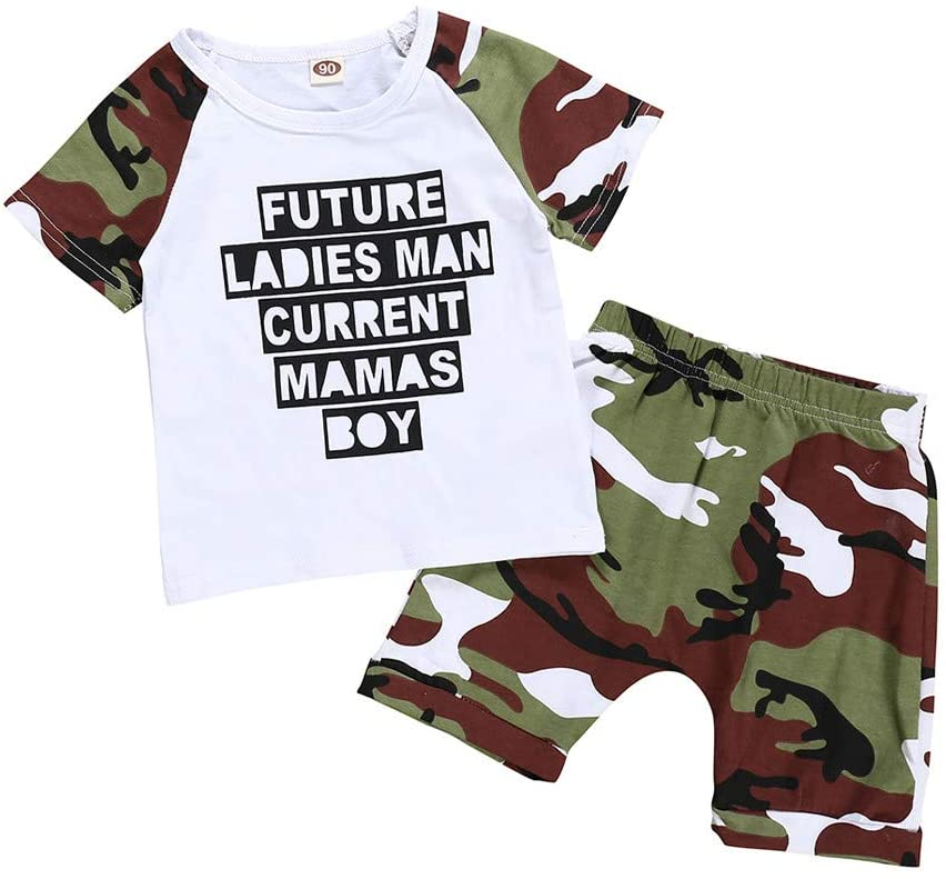 Boys Outfits&Set, Infant Baby Boy Kid Letter Printed T Shirt Tops+Camouflage Shorts Outfits Set, Clothing for Baby Kids