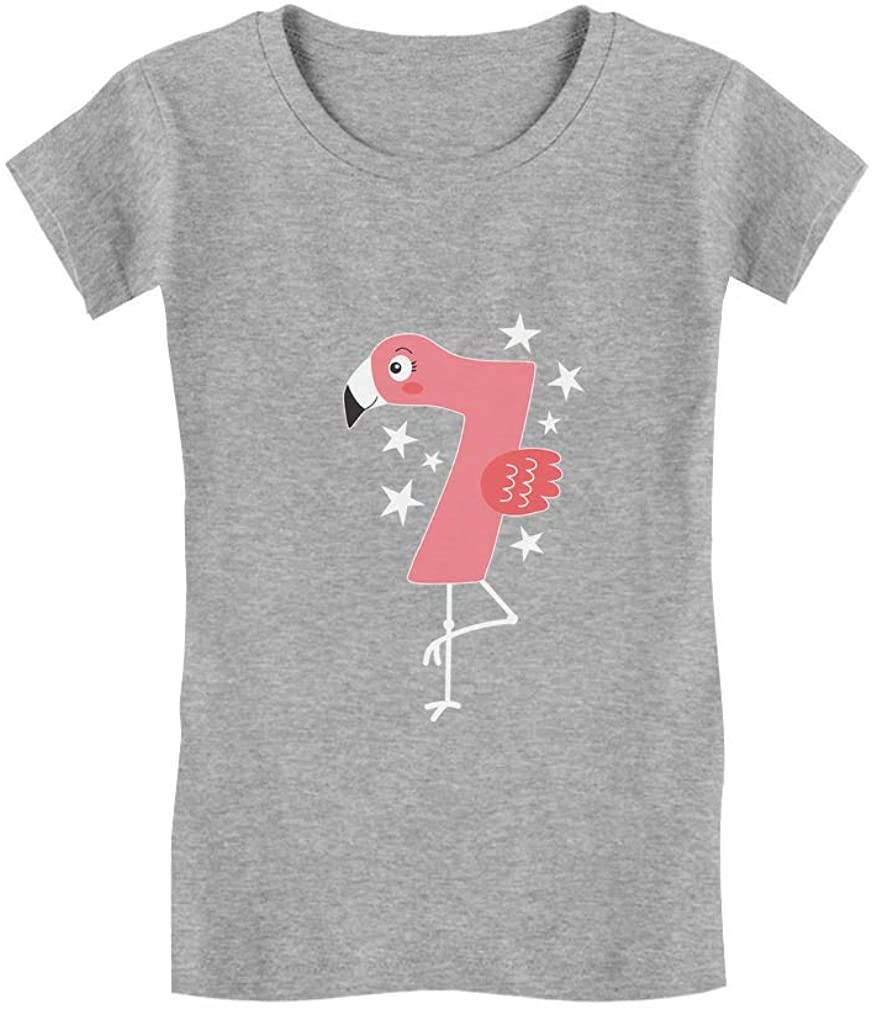 Flamingo 7th Birthday Gift for Seven Year Old Girls' Fitted Kids T-Shirt