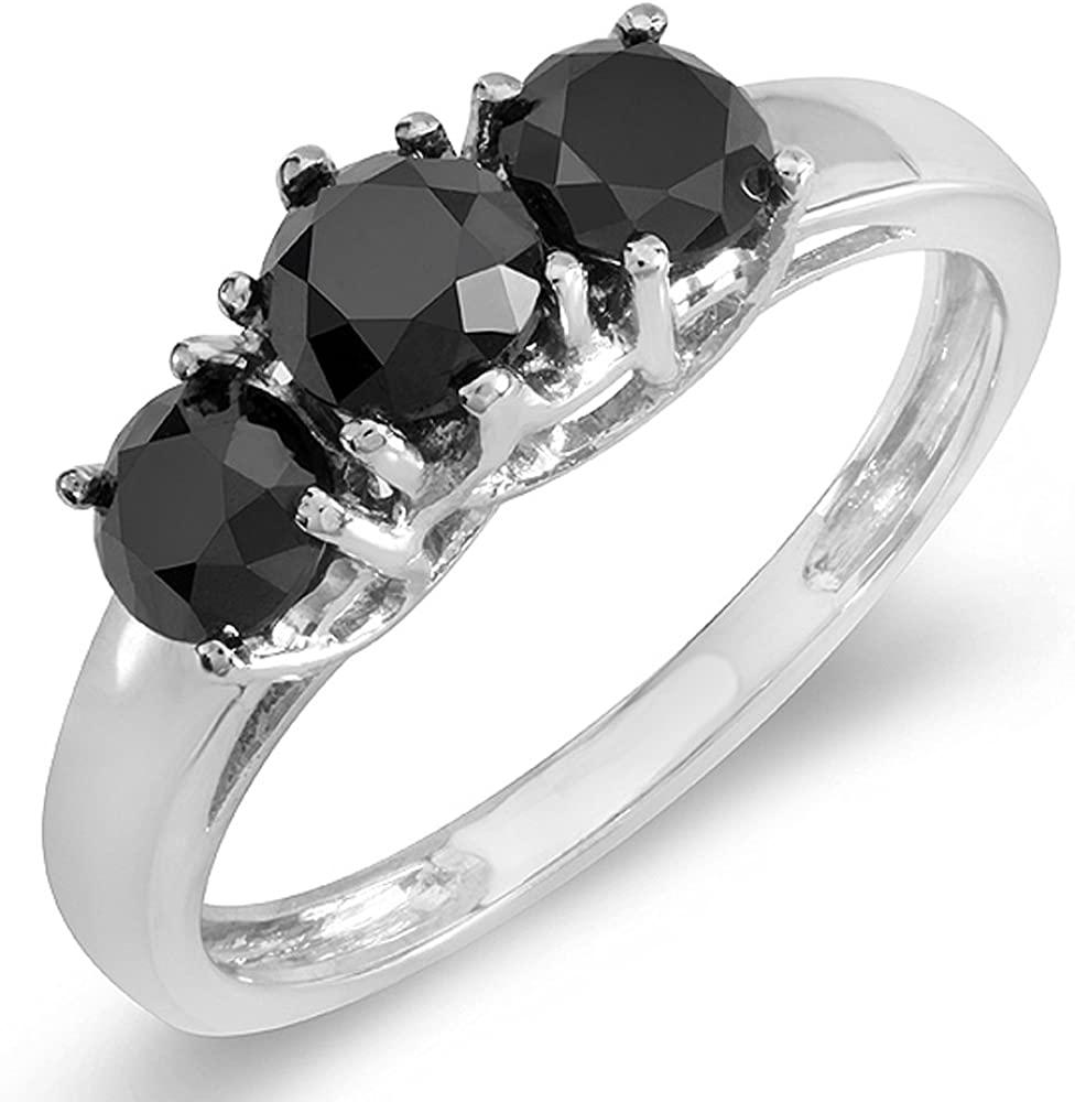 Dazzlingrock Collection 2.25 Carat (ctw) 14K Black Round Diamond Three Stone Ladies Engagement Ring 2 1/4 CT, White Gold