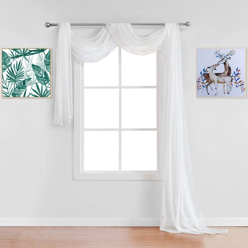 Warm Home Designs Premium Quality 54 X 144 Inches Sheer White Ivory Window Scarf. All Standard Size Valance Scarves Look Great as Window Toppers for Any Room in The House. J Ivory 144