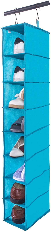 Amborido 8 Shelf Hanging Shoe Organizer for Closet Non Woven Fabric Lake Blue
