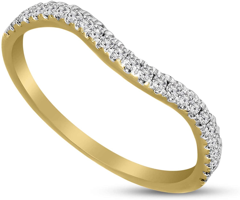 Lab Created Diamond Ring 1/4 Carat Lab Grown Designer Diamond Curved Diamond Ring SI-GH Quality Diamond 10K Yellow Gold Ring For Women