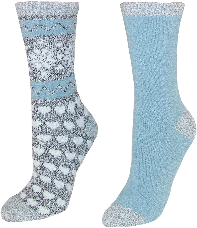 Alexa Rose Women's Fluffy Crew Socks (2 Pair Pack)