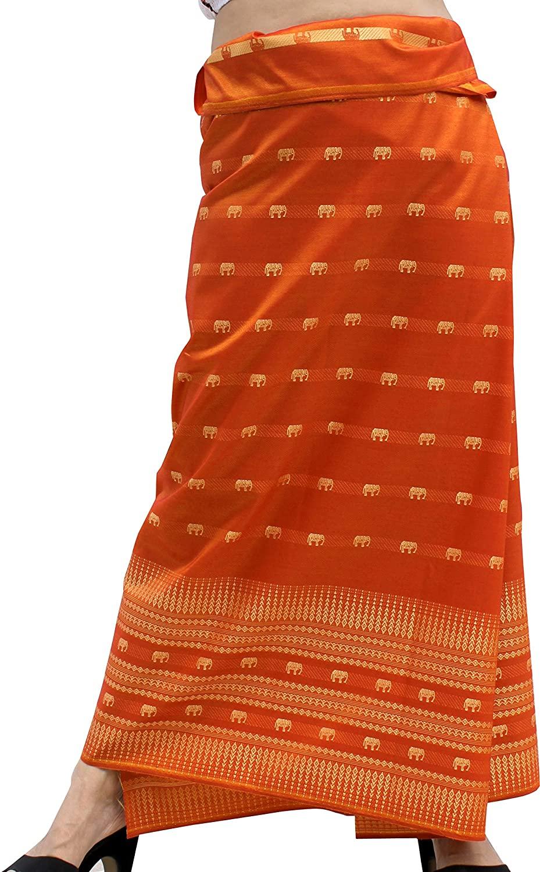 Full Funk Silk Woven Fabric for Wrap Skirts with Full Elephant Erawan Artwork, Giants Orange