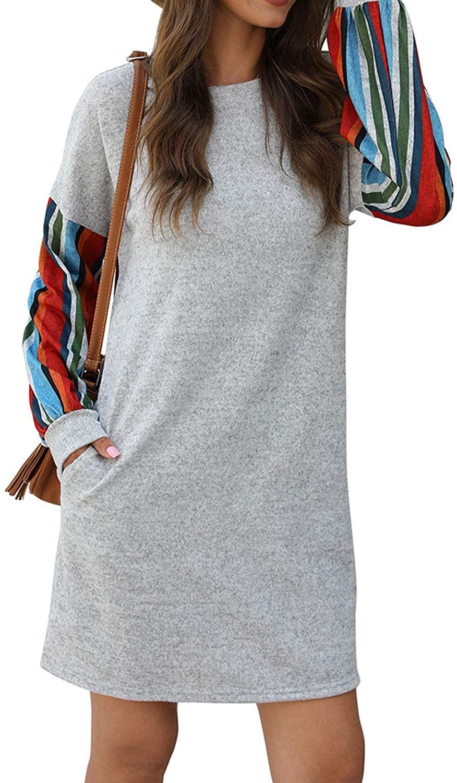 RULINJU Women's Casual Long Sleeve Dresses Stripe Splicing Lantern Sleeve Loose Dress with Side Pockets