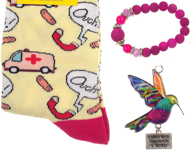 Nurse Gift Bundle - Nurse Socks, Nurse Ornament & Bracelet