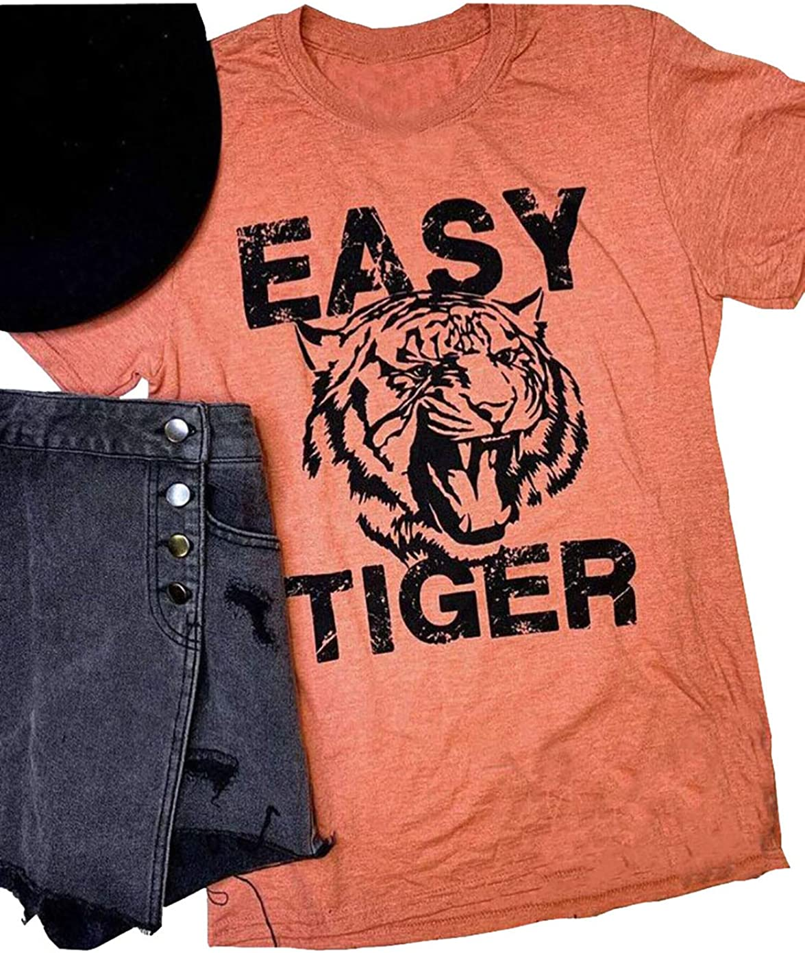 Women's Easy Tiger Printed Graphic T Shirt Fan Animal Lovers Vintage Shirt Summer Casual Short Sleeve Tops Tshirt