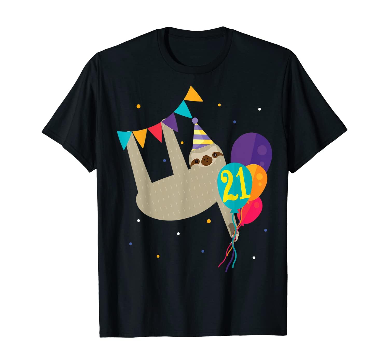 Funny 21st Birthday Sloth Lovers T-shirt Gift Men Women Her