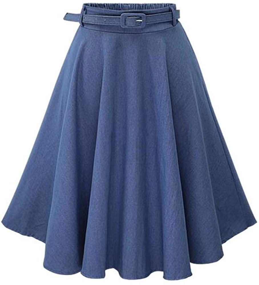 QZUnique Midi Belt Jean Skate Skirt Elegant Flared Elastic Waist Denim Skirt